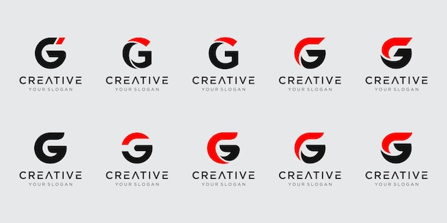 Set of abstract initial letter g logo template Premium Vector
