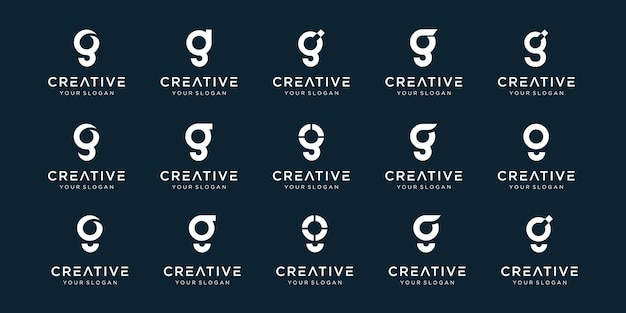 Set of abstract initial letter g logo template. Premium Vector