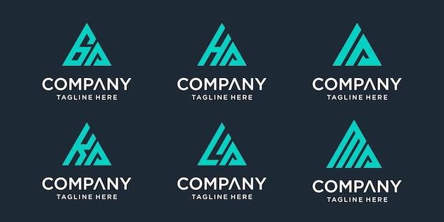 Set of abstract initial letter ga, ha, ia, ka, la, ma logo template Premium Vector