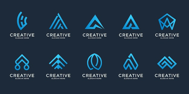 Set of abstract initial letter a logo design template. icons for business of luxury Premium Vector