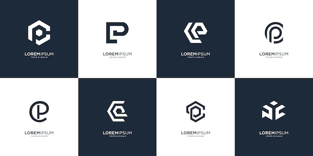 Set of abstract initial letter p and c logo design template. icons for business of luxury Premium Vector