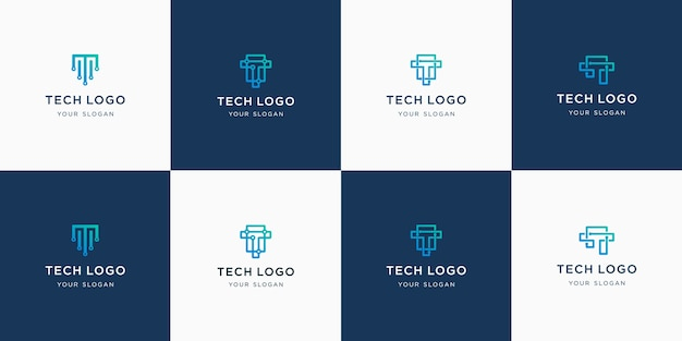 Set of abstract initial letter t monogram logo template. Premium Vector