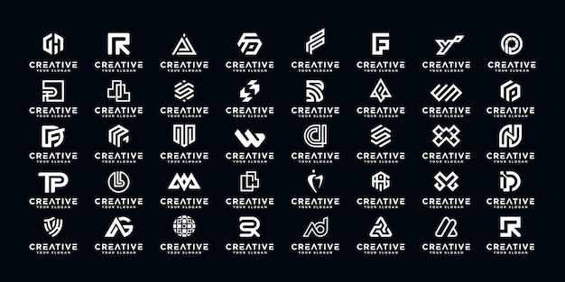 Set of abstract initial a-z.monogram logo design, icons for business of luxury,elegant and random.