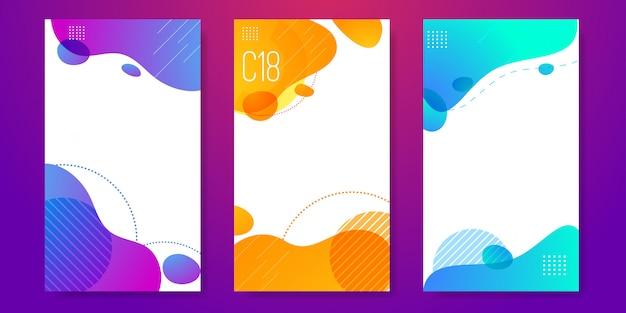 Set of abstract liquid banner template Premium Vector