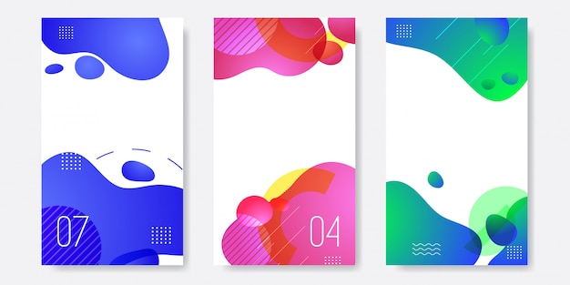 Set of abstract liquid banner template Premium Vector