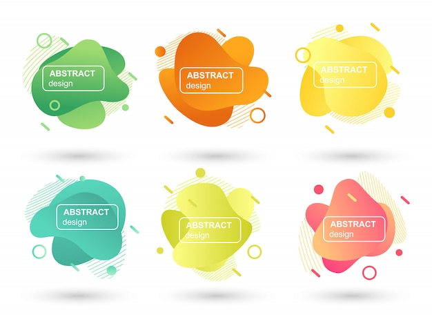 Set of abstract liquid shapes modern graphic elements Premium Vector