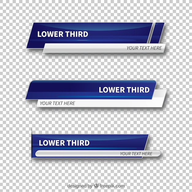 Set of abstract lower thirds Free Vector