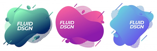 Set of abstract modern fluid liquid graphic shapes elements. dynamical colorful line. gradient abstract Premium Vector