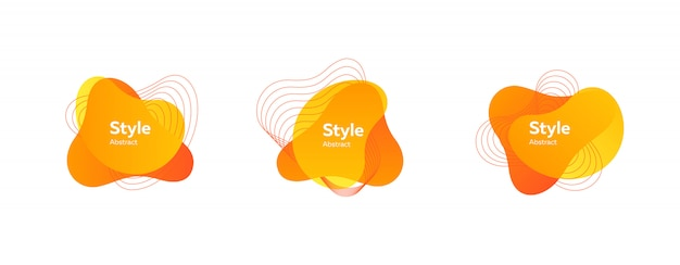 Set of abstract modern yellow and orange Free Vector