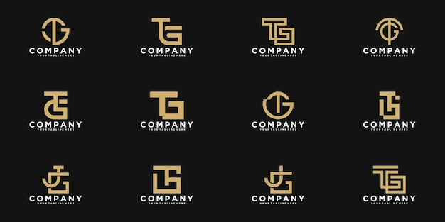 Set of abstract monogram initial letter t, g logo template Premium Vector