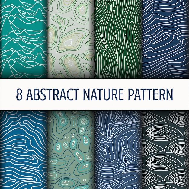Set abstract nature pattern Premium Vector