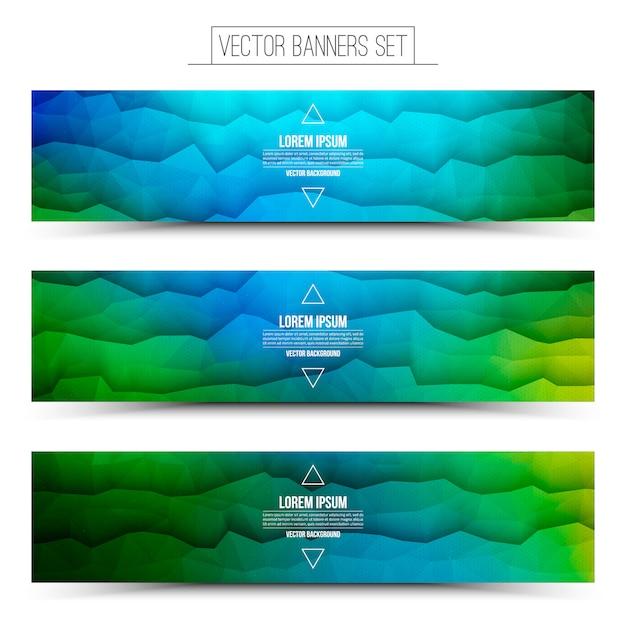 Set abstract polygonal web banners Premium Vector