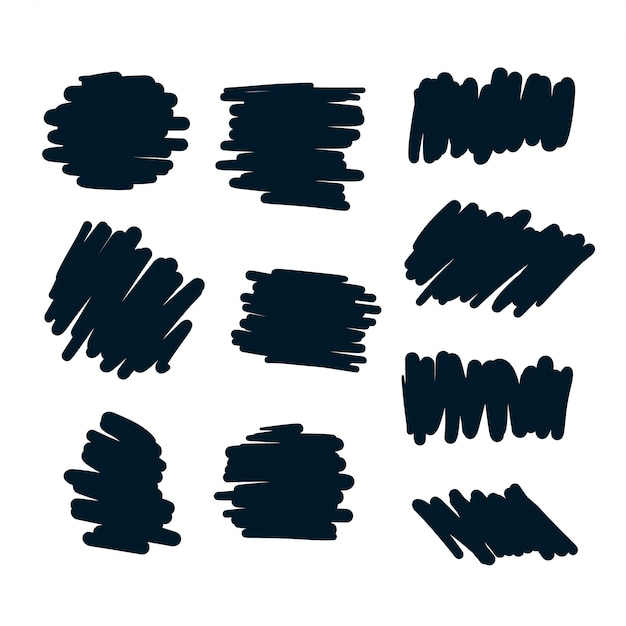 Set of abstract scribble bold pen elements Free Vector