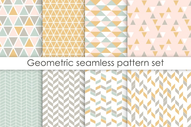 Set of abstract seamless patterns. Premium Vector