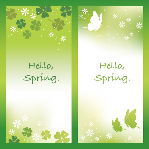 Set of abstract springtime illustrations with text space Free Vector