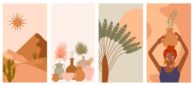 Set of abstract vertical background with woman in turban, ceramic vase and jugs, plants, abstract shapes and landscape. Premium Vector