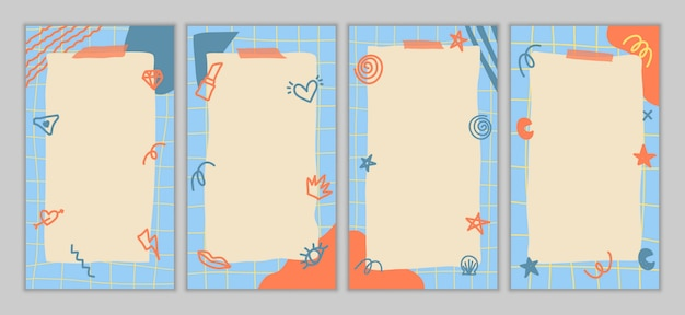 Set of abstract vintage girly stories template. hand drawn doodle various shapes, leaves, spots, drops. contemporary modern trendy  illustrations. Premium Vector