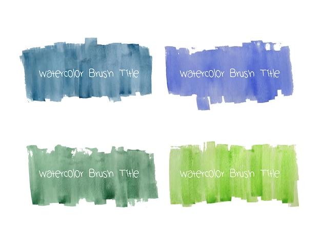 Set di pennellate di grunge acquerello astratto Vettore gratuito