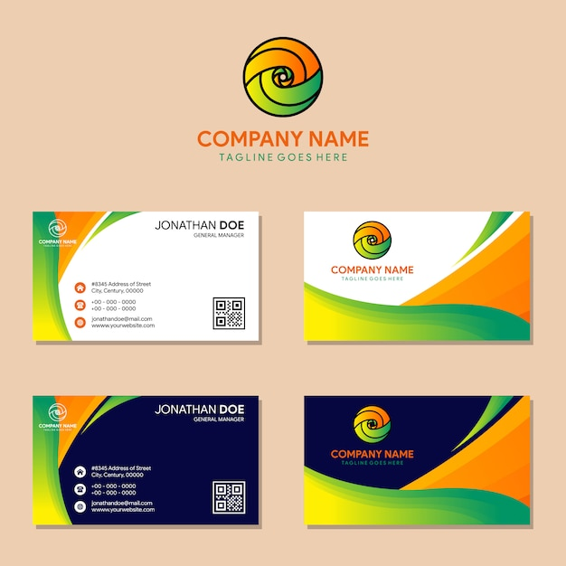 Set of abstract wave professional and business card Premium Vector