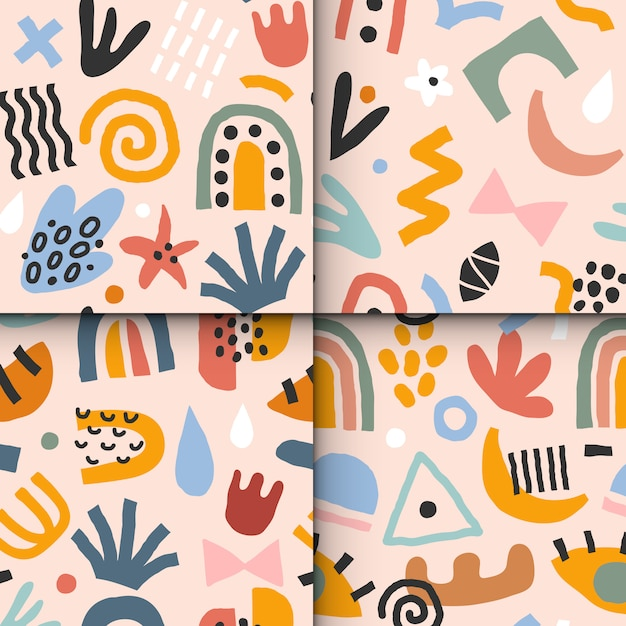 Set of abstraction patterns Premium Vector
