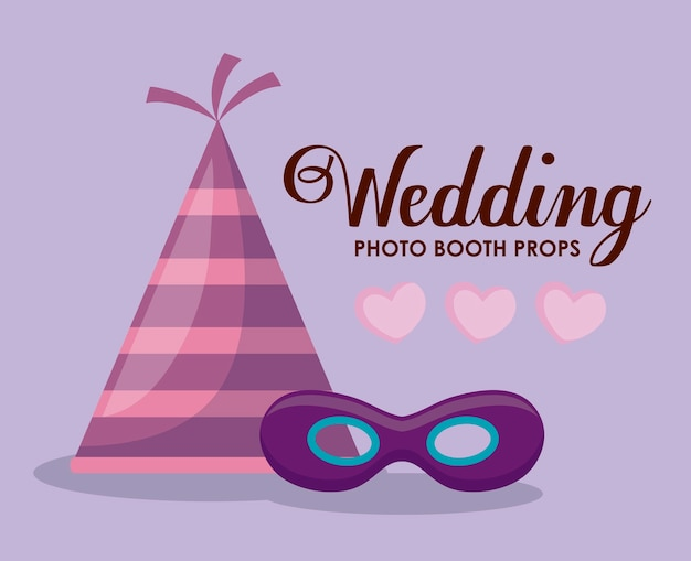 Set accessories of party decorative Free Vector