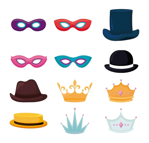 Set accessories of party traditional Free Vector