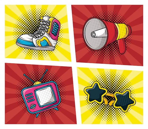 Set of accessories pop art style Free Vector