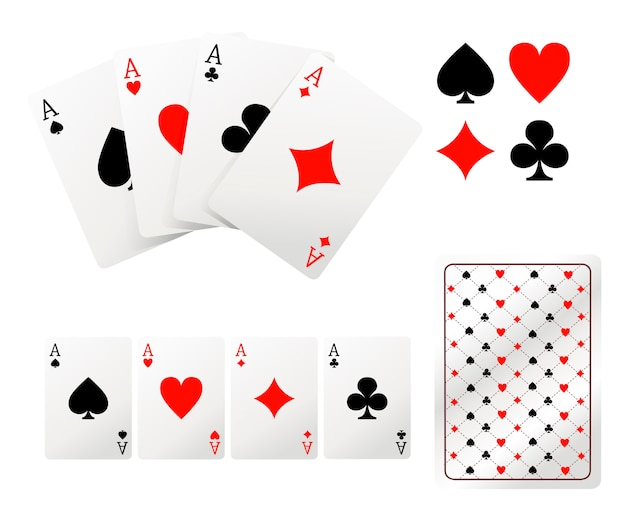Set of ace playing cards. back side .  illustration  on white background. web site page and mobile app. Premium Vector