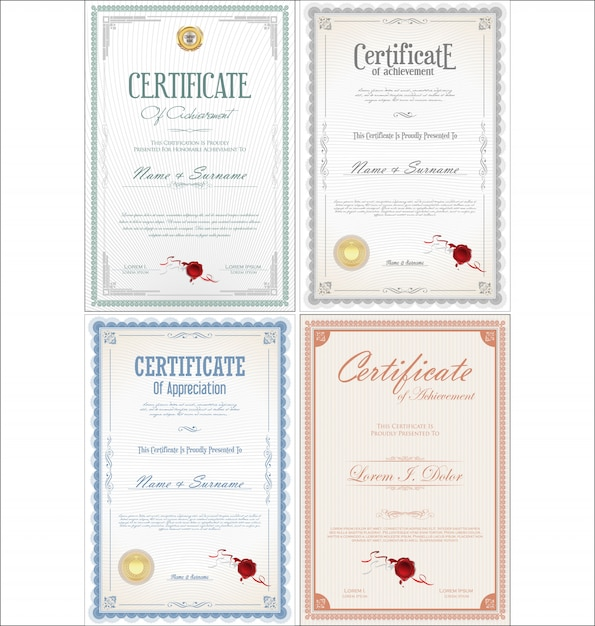 Set of achievement certificate with seals Premium Vector