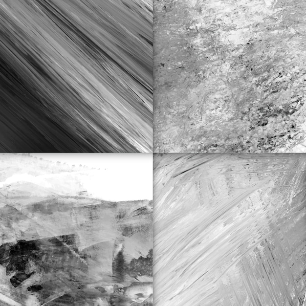 Set of acrylic abstract backgrounds, black and white Free Vector