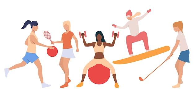 Set of active ladies doing sport Free Vector