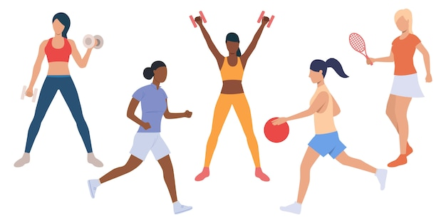 Set of active ladies at sport training Free Vector