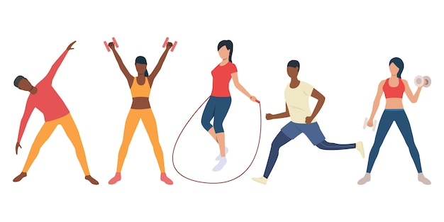 Set of active multiethnic people training in gym Free Vector