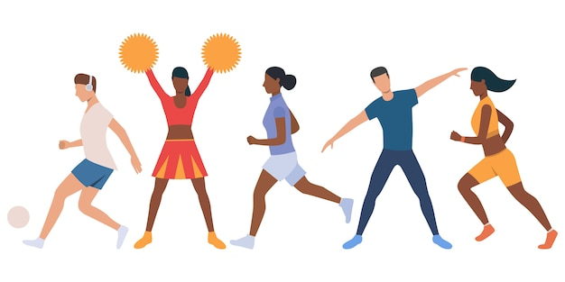 Set of active young people Free Vector