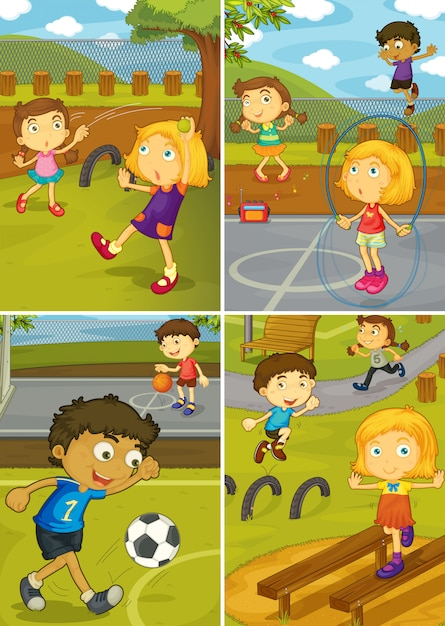 A set of activity kids at the playground Premium Vector
