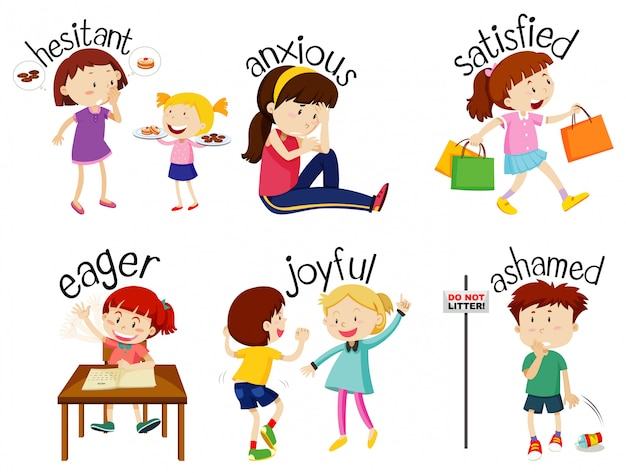 Set of adjective words with children expressing their feelings Free Vector