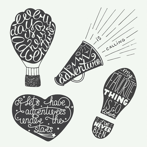 Set of adventure lettering prints and posters. Premium Vector