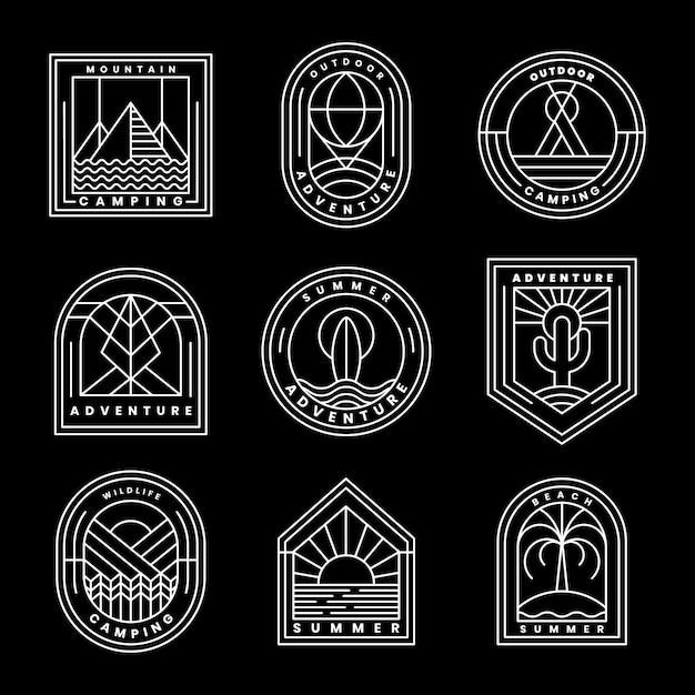 Set of adventure logo vector Free Vector