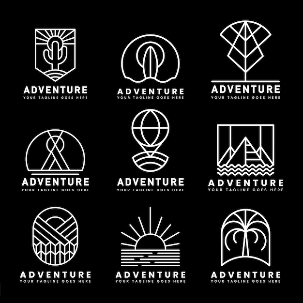 Set of adventure logo vector Free Vector