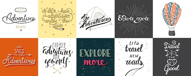 Set of adventure and travel   posters Premium Vector