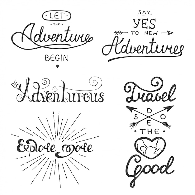 Set of adventure and travel vector lettering Premium Vector