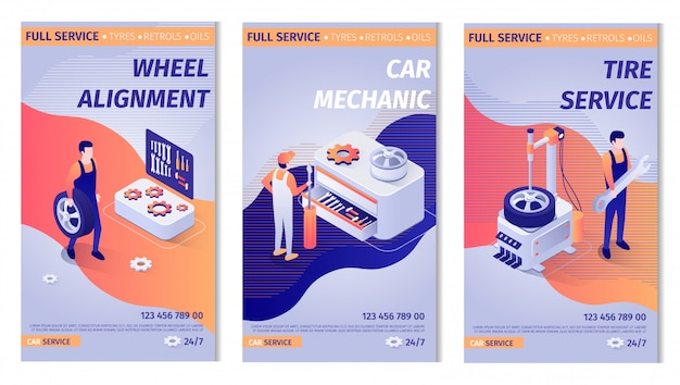 Set of advertisements for service. posters with auto maintenance operation process Premium Vector