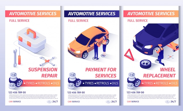 Set of advertising brochure for automobile service Premium Vector
