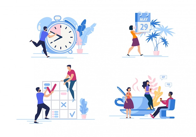 Set advertising poster time management cartoon. Premium Vector