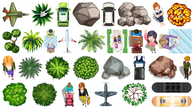 Set of aerial objects Free Vector