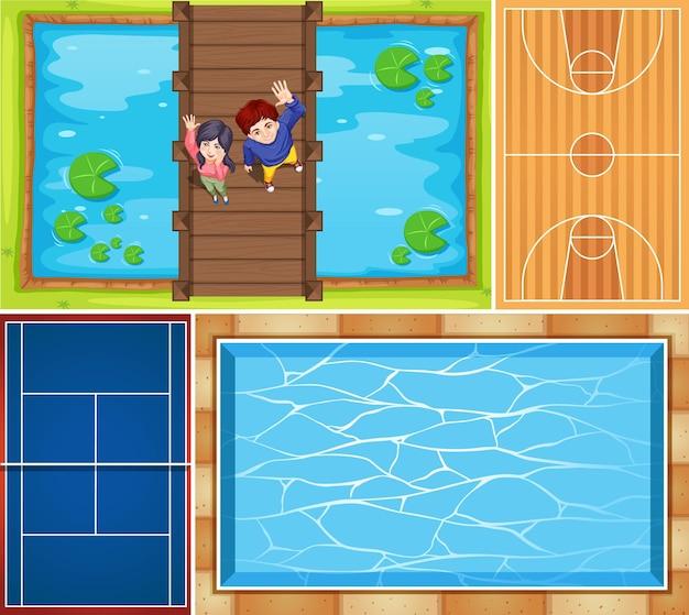 Set di piscina aerea e scena di campo da basket Vettore gratuito
