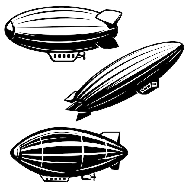 Set of aerostat illustrations on white background. airships zeppelins.  elements for logo, label, emblem, sign.  image Premium Vector