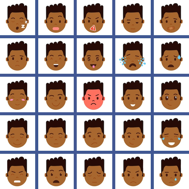 Set african boy head emoji personage icon with facial emotions, avatar character, face with different male emotions concept Premium Vector