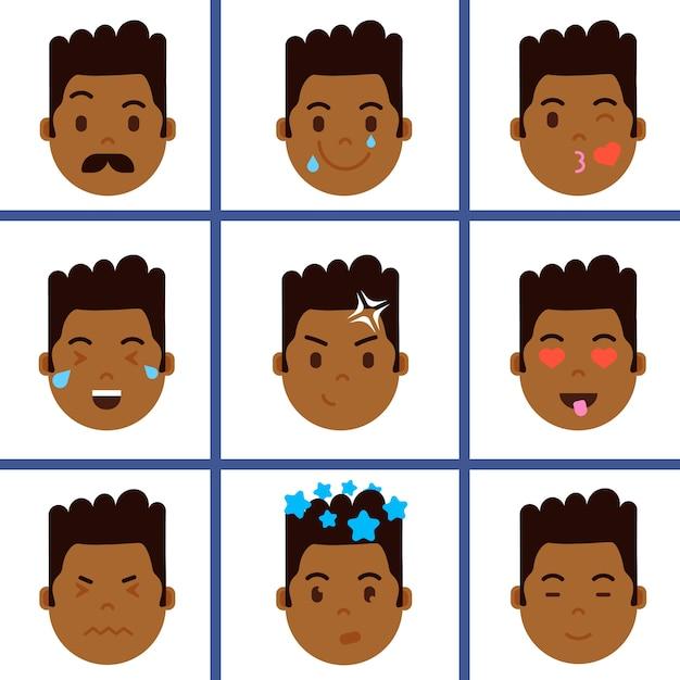 Установить африканского мальчика значок смайлика с изображением эмоций на лице Premium векторы