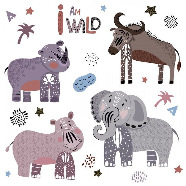 Set of african cartoon animals on white Premium Vector